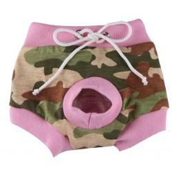 Loopheidsbroekje met legerprint en roze bies