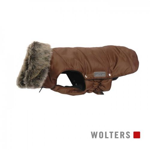 Wolters bruin jasje met een bontkraag